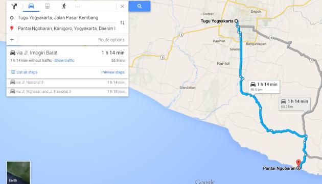 rute ke pantai Ngobaran